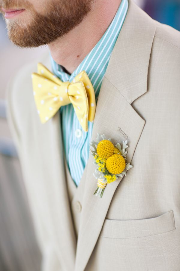 So fresh! Yellow bow tie and billy ball boutonniere paired with mint/white striped shirt and tan suit