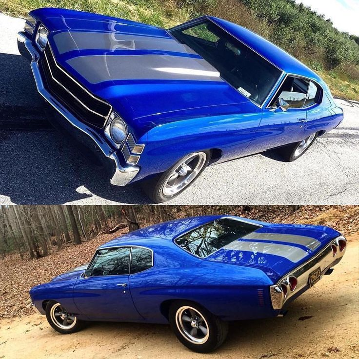 71 chevelle blue with grey or silver stripes.