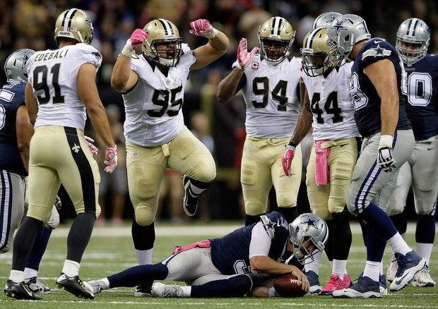 Saints vs cowboys 2015--Tyeler Davison(95) sacks Weeden, Saints vs Cowboys