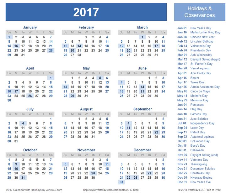 ... 2017 holiday calendar, 2017 calendar printable and Printable calendars