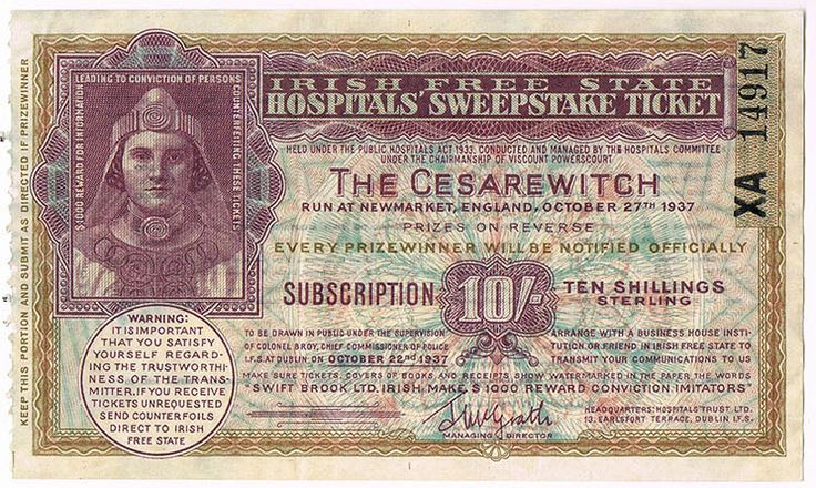 Irish Sweeps Stakes ticket - Newmarket Cesarewitch 1937