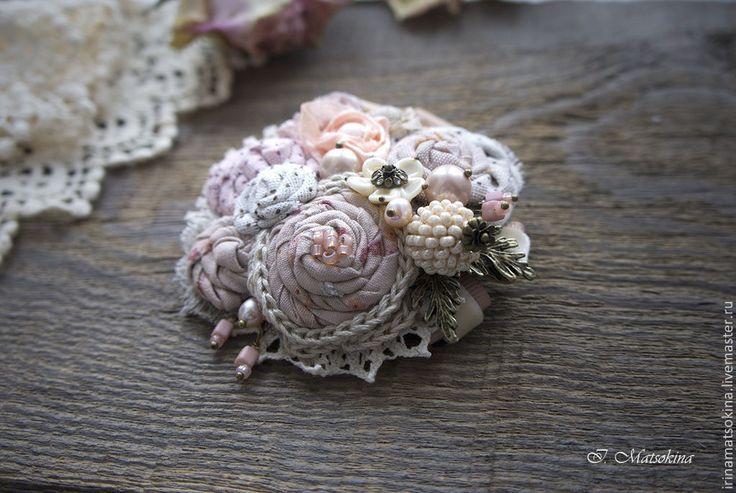 Купить Брошь Пудровая Роза - кремовый, розовый, бежевый, брошь, брошь цветок