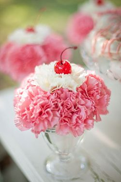I have a VERY strong distaste for carnations but this idea is super cute!! for a dessert bar: Ice cream carnation centerpiece