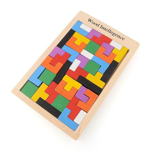 Hot! kinderen Houten Puzzels Speelgoed Tangram Brain Teaser Puzzel Speelgoed Tetris Game Educatief Kid Jigsaw Board Speelgoed Geschenken FCI #