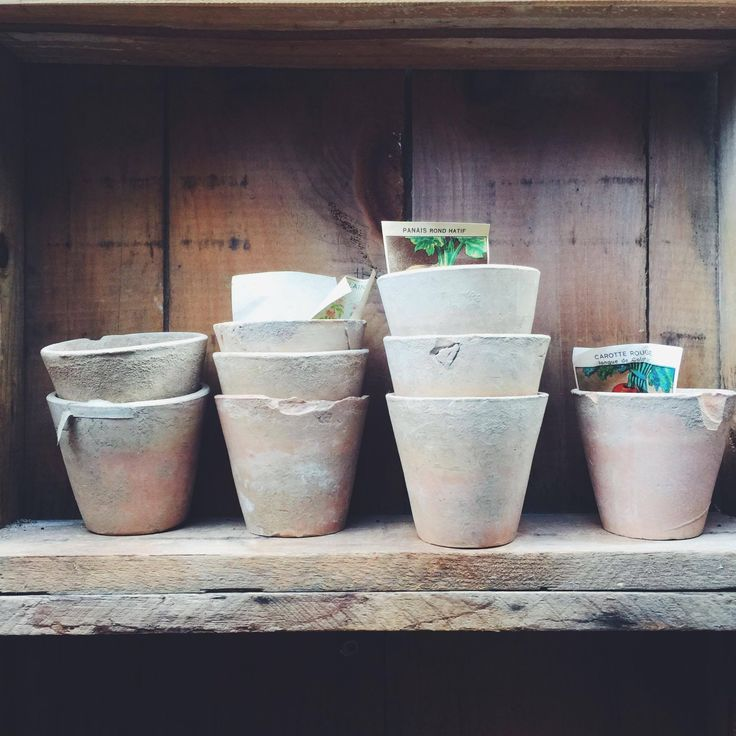 Old French rustic herb pots. #rustavalon #flowerpots #herbpots #pots #rustichome #interiors #homedecor #decorating