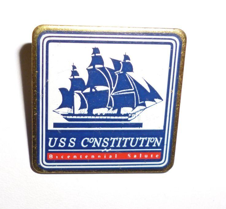 USS Constitution Ship Bicentennial Charlestown Massachusetts Salute Pin