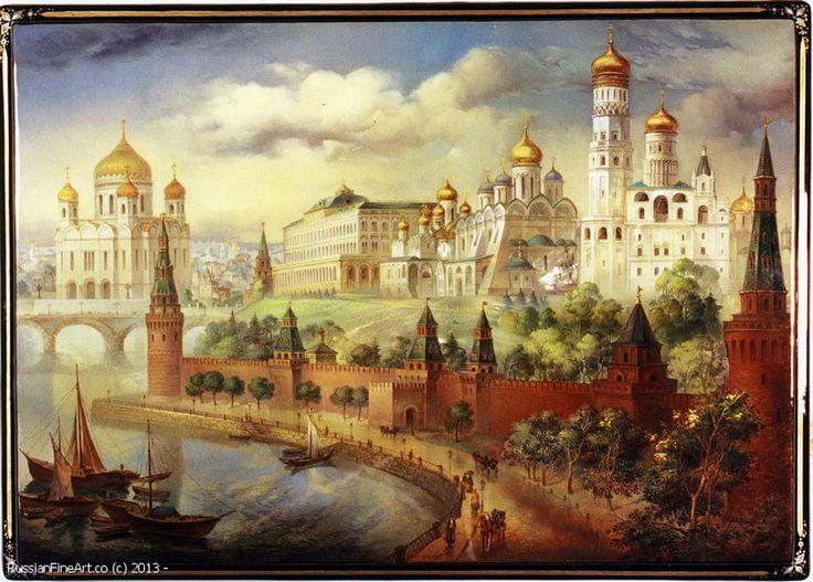 "Monashov Vladimir ""Kremlin Embankment"" - box, Fedoskino lacquer painting technique. $5400.00"