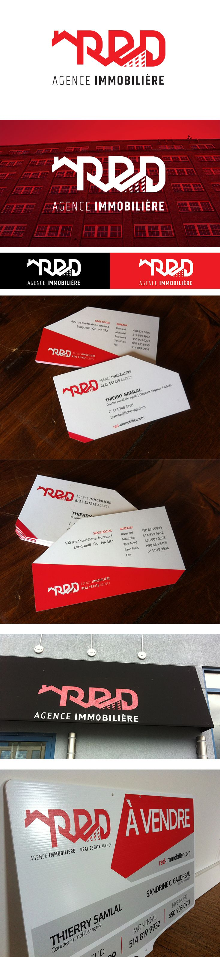 RED Agence Immobilière. Branding complet : #logo #branding #businesscard #graphic #red #black #design #agrumes