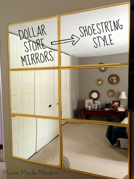 Idea for my closet wall.  Home Made Modern: Tightwad Tuesday: $6 Mirror from the Dollar Store