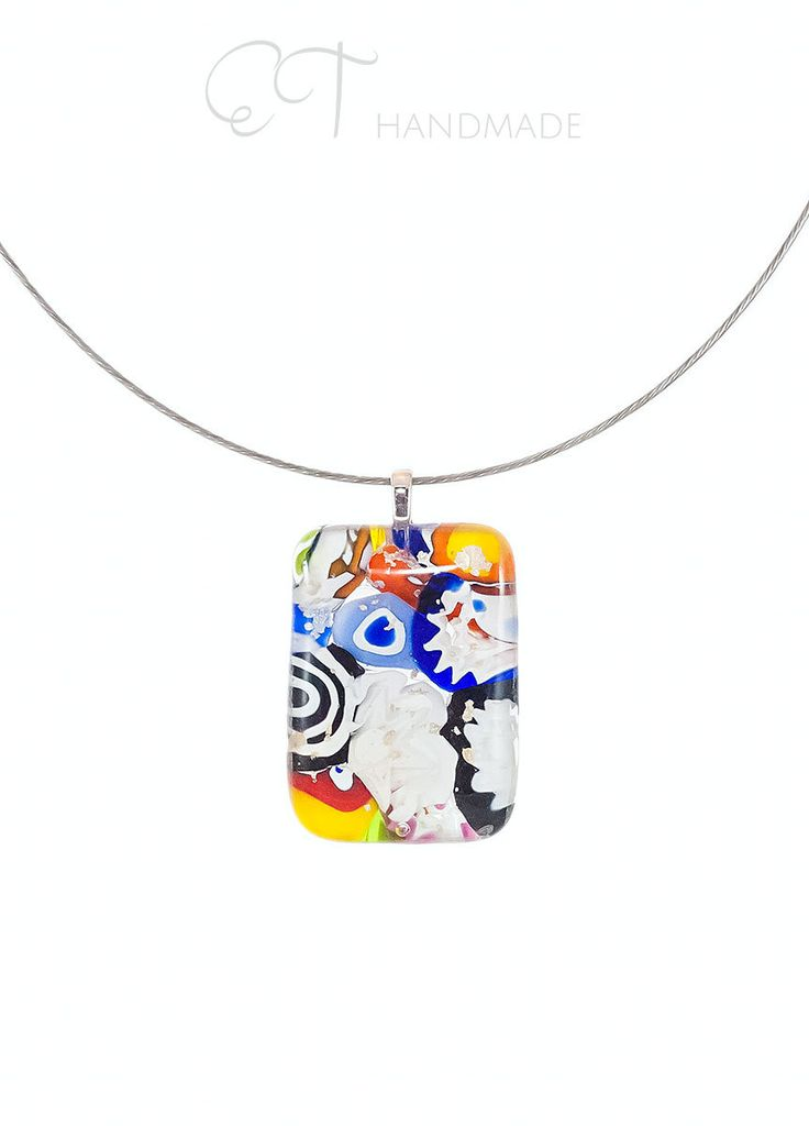 Abstract multicolor glass pendant fused color Murano Glass smithereens pendant necklace stylish rectangular Handmade italian artisan jewelry - pinned by pin4etsy.com