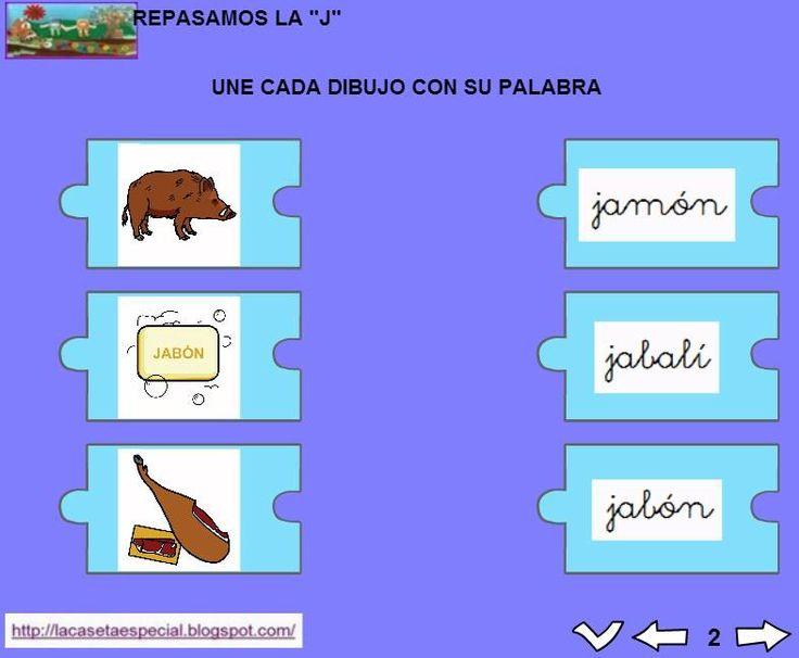 MATERIALES - Juegos LIM de lectoescritura: j  Se trata de juegos hechos con el editor de actividades EdiLim para trabajar la lectoescritura de manera divertida. Cada juego trabaja una letra y encontraremos actividades como: unir imagen con palabra, juego de memoria, ordenar sílabas y ordenar palabras para formar frases.  Descomprimid la carpeta JOC_EDILIM_J.zip y pulsad dos veces sobre el archivo repasamos_la_j.html.  http://arasaac.org/materiales.php?id_material=1199