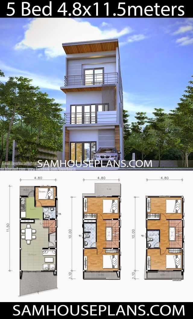House Plans 4 8x11 5 With 5 Bedrooms Sam House Plans Narrow House Designs Narrow House Plans Passive House Design