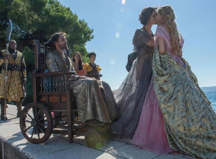 Aero Hotah (DeObia Oparei), Doran Martell (Alexander Siddig), Nym Sand (Jessica Henwick), Tyene Sand (Rosabell Laurenti Sellers), Ellaria Sand (Indira Varma) and Myrcella Baratheon (Nell Tiger Free) from Holy Mother of Dragons! All the Epic Game of Thrones Season 5 Moments