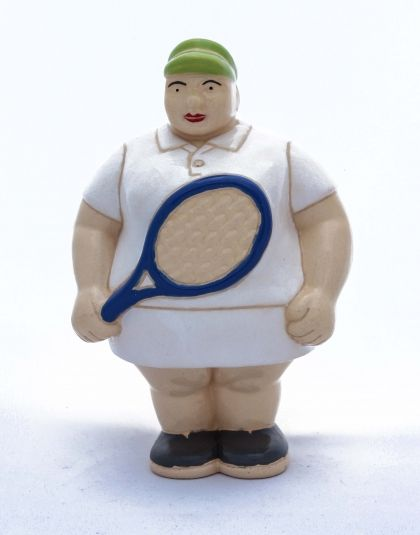 Mrs. Tennis Player - Potbelly Handmade Ceramic Figurine. Buy her from Wave2Africa - an online gift and decor boutique.