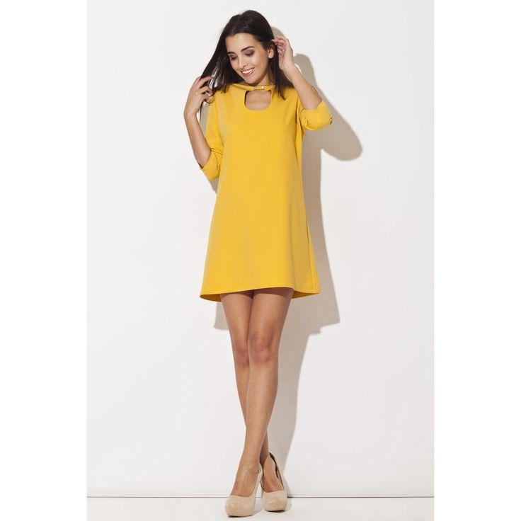Yellow Swing Dress With 3/4 Sleeves LAVELIQ