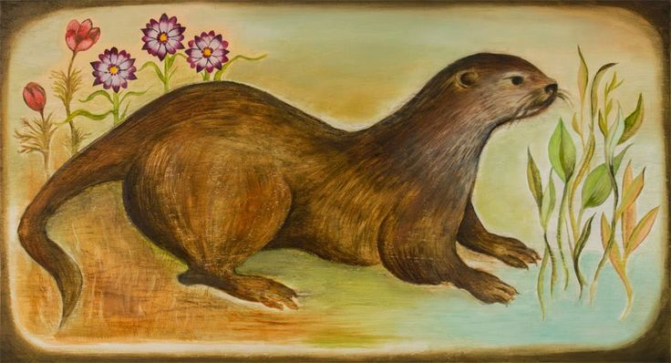 Otter ~ Oil on Wood ~ Ranza Clark