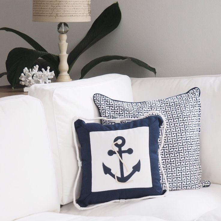 Hamptons nautical decorative cushion covers in navy and white Measurements: 40cm x 40cm x 1cm  Features: Handmade from Polyester/Cotton - Embroidered Anchor with feature white rope insert - Raised white rope edging for authentic nautical look - Hidden zipper closure - Pattern on one side only  Colours: Navy Blue and White  Not included: Infill for the cushion  Set a coastal Hamptons Lifestyle scene in your home  #hamptonshomedecoronlineshop www.buildingworksaust.com.au