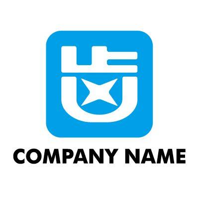 歯の漢字を図形ロゴにしました。 歯医者,デンタルクリニック,歯科医院,歯イラスト,星,水色,青,清潔,活発