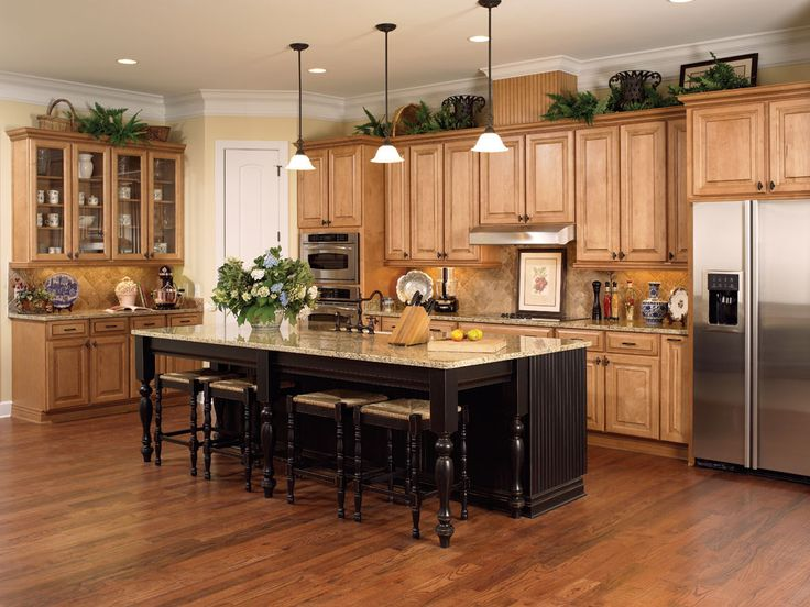 Madison maple honey chocolate kitchen cabinets with miland Kitchen colors with natural wood cabinets