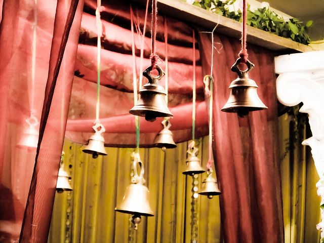 Wedding decorations - bells, in odd numbers for good luck #indian #weddingdecoration