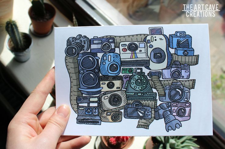 Greetings Card Colour // Cartoon Cameras // Digital Cameras // Film Cameras // A5 + Envelope Included // Birthday Gift // Pen Pal by…