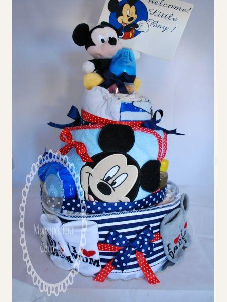 Τούρτα για νεογέννητο αγοράκι - Mickey mouse - τρίπατη με 50 babylino sensitive