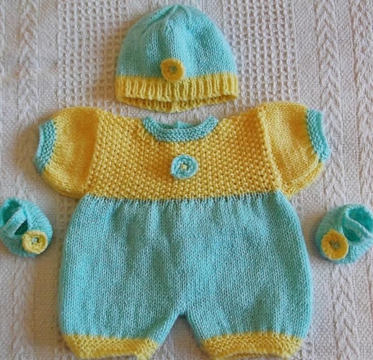 Springtime romper knitting pattern~ Doll  Pattern available on PDF from craftsy.com