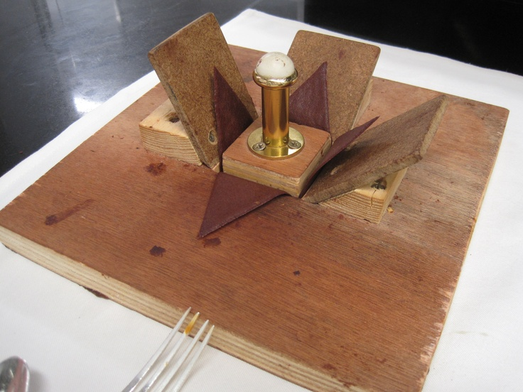 Chefs pâtissiers are engineers.  The device Laurent Jeannin created in order to be able to create the box forms for the origami dessert.