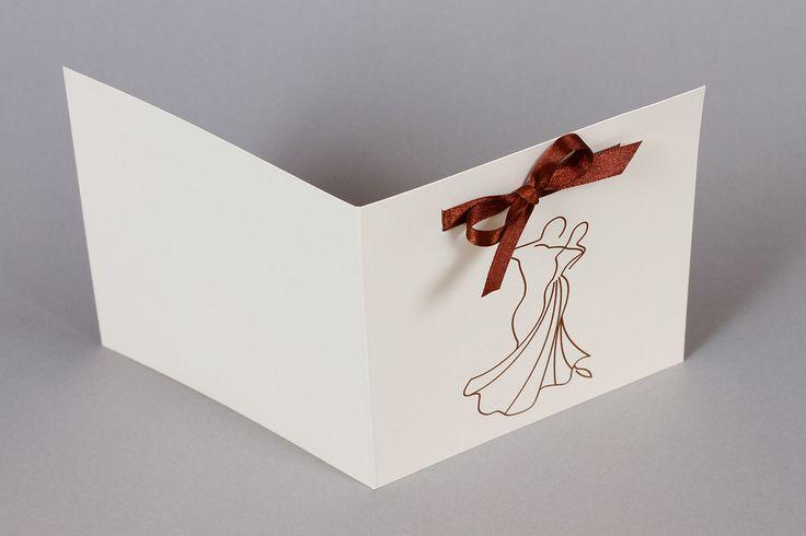 Elegáns esküvői meghívó, táncoló pár _ dancing couple wedding invitation, chocolate brown ribbon