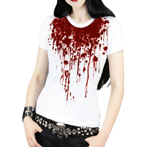 White Cool Blood Printed Gothic Punk T-shirt (86.550 COP) ❤ liked on Polyvore featuring tops, t-shirts, shirts, white, punk rock t shirts, goth t shirts, shirts & tops, gothic tops y goth shirt