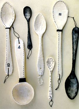 ARTIST'S ART - KITCHEN IDEAS:   we could take a variety of spoons that have stitching on them to match the art work that Teree drew - we could also do small fashion illustrations on the bowls of the spoon