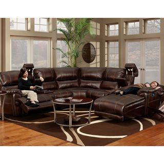 Franklin Presley Chocolate Faux Leather Motion 4 Piece