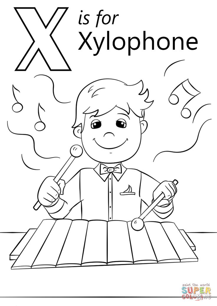 Letter X is for Xylophone coloring page from Letter X