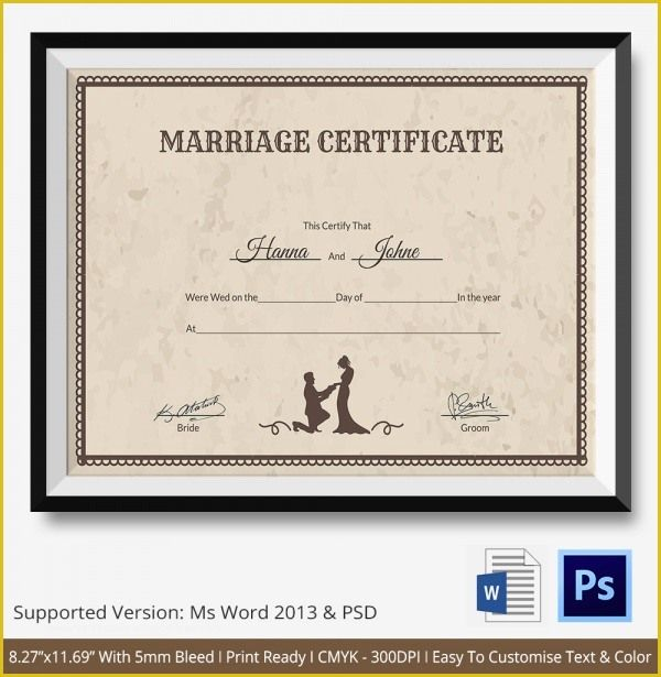 Marriage Certificate Template Word 2019