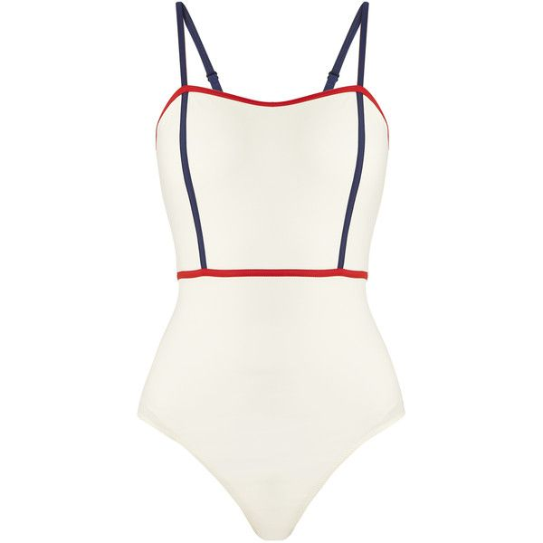 Solid & Striped The Lexi contrast-trim swimsuit ($180) ❤ liked on Polyvore featuring swimwear, one-piece swimsuits, white multi, white swimsuit, striped swimsuit, beach swimsuits and beach bathing suits