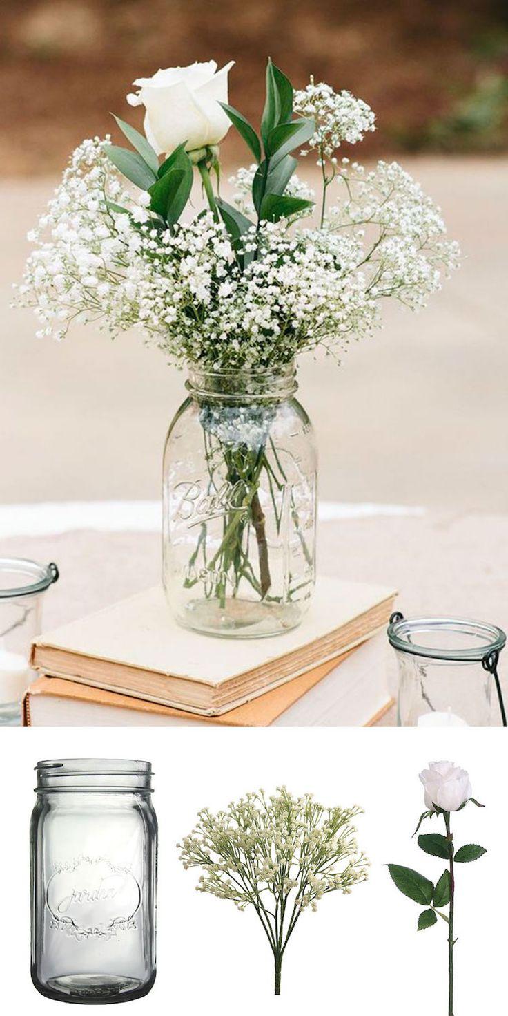 Déco mariage DIY pas chère en gypsophiles et rose blanche