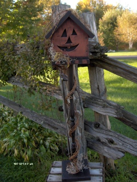 Rustic Fall...jack o' lantern birdhouse.