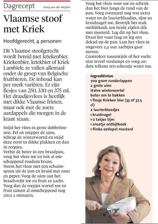 Vlaamse stoof met Kriek - Recept van Janny van der Heijden  ( + 1 blokje runderbouillon)