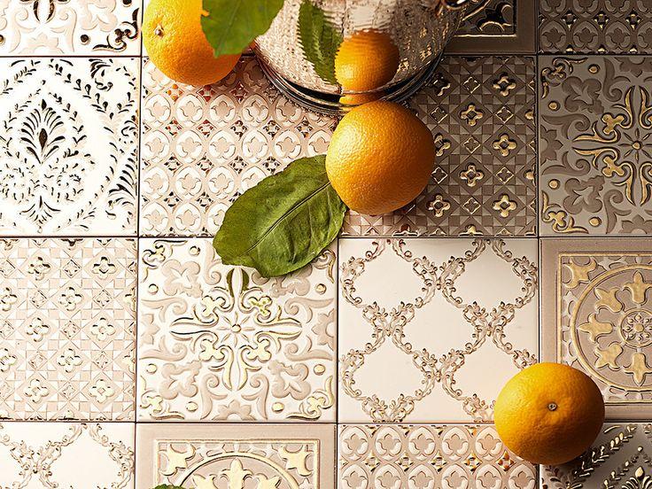 Atelier Gold-Decoratori Bassanesi-2, стиль Пэчворк, Кухня, Керамика, настенная, напольная, Глянцевая, Неректифицированный