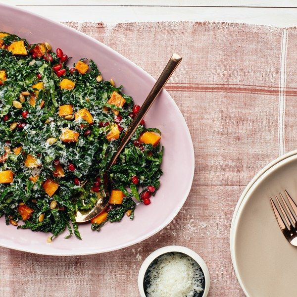 Kale Salad with Butternut Squash, Pomegranate, and Pumpkin Seeds | Epicurious - dressing 3 days ahead, veggies 1 day ahead