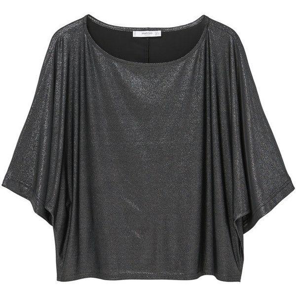MANGO Metallic Detail T-Shirt (685 MXN) ❤ liked on Polyvore featuring tops, t-shirts, bat sleeve tops, batwing sleeve tops, short tops, mango tee and mango tops