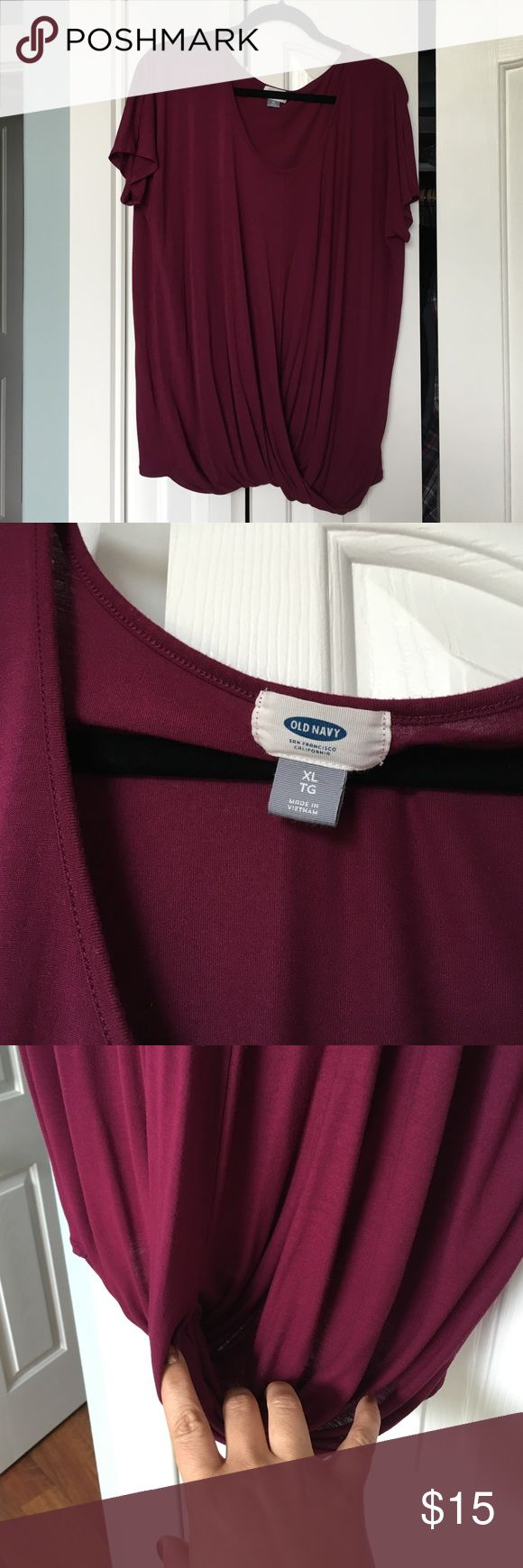Purple XL Old Navy short sleeved top Pinkish-Purple XL Old Navy short sleeved top with twist front. Worn once or twice and in excellent condition. Very soft! Old Navy Tops Tees - Short Sleeve