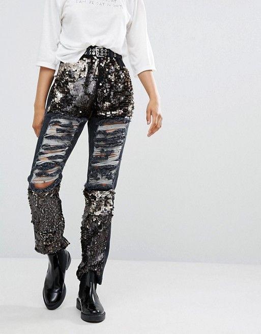 Daisy Street | Потертые джинсы бойфренда с отделкой пайетками Daisy Street