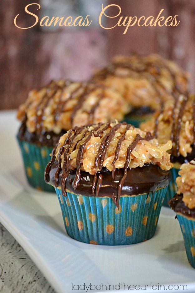 Oh yes, the delicious flavors of your favorite Girl Scout cookie in a cupcake!  You can bet if you're a fan of the Samoas Cookie than you will also love these Samoas Cupcakes.  Topped with the delicious caramel coconut topping you've come to love in a Samoas Cookie.