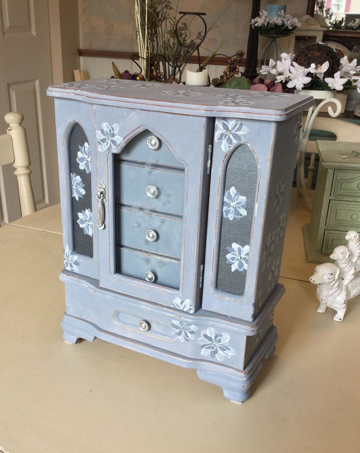 Painted Vintage Wooden Jewelry Box / Upcycled Designer Jewelry Armoire / OOAK Shabby Chic Jewelry Box by ByeByBirdieDesigns on Etsy https://www.etsy.com/listing/515739109/painted-vintage-wooden-jewelry-box