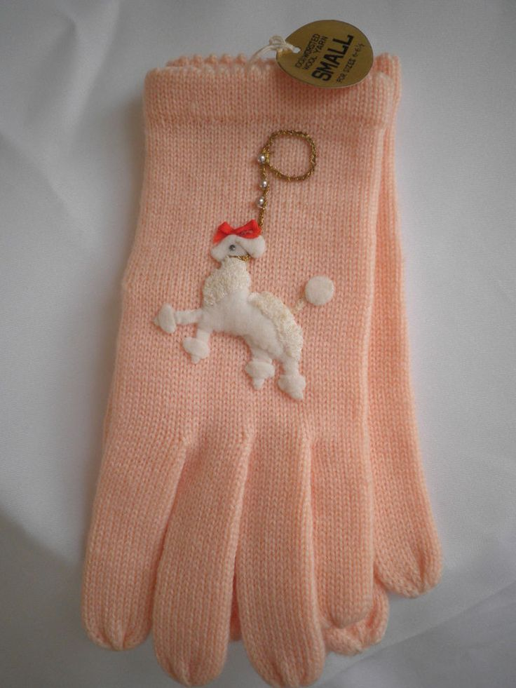 Fabulous Vintage 1950s Wool Gloves with Poodle embroidery