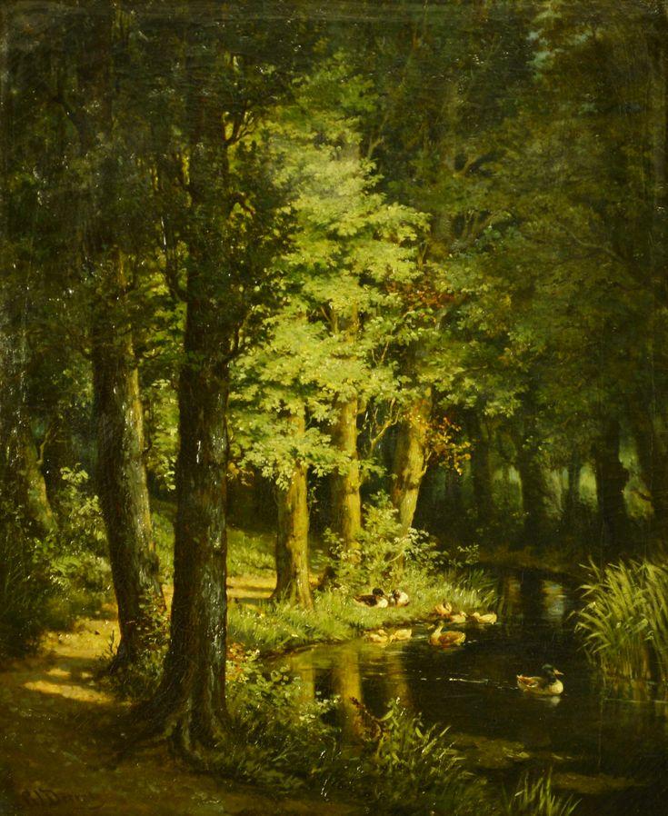 Gerrit Jan Derens (1831-1898) Titel: Bosgezicht met eenden in de vijver - Artiquair