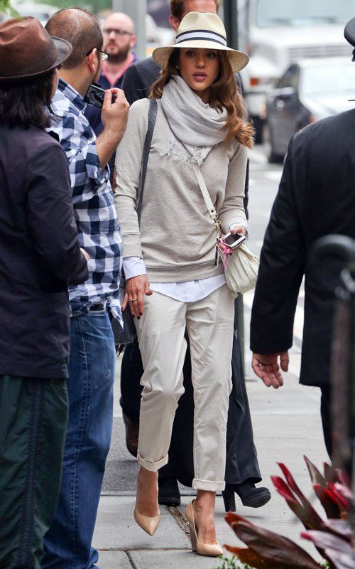 Mention @Lookastic in a comment to the look you'd like to make shoppable. Shop Jessica Alba's look for $121:  http://lookastic.com/women/looks/hat-and-scarf-and-crew-neck-sweater-and-crossbody-bag-and-dress-shirt-and-chinos-and-wedge-pumps/2781  — Beige Hat  — Grey Scarf  — Grey Crew-neck Sweater  — White Leather Crossbody Bag  — Light Blue Dress Shirt  — Beige Chinos  — Tan Leather Wedge Pumps