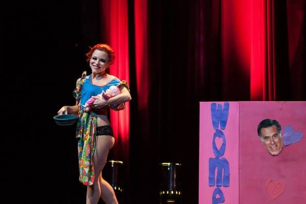 """Roxie Moxie pokes fun at Mitt Romney's """"binder full of women"""" comment at the Viva Dallas Burlesque presentation of Dirty Politics at Lakewood Theater - Nov. 2nd, 2012 (Daniel Work/Special Contributor)"""