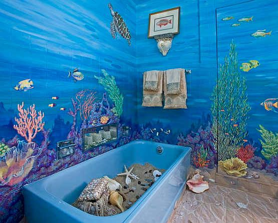 Best Bathroom Ideas Images On Pinterest Bathroom Mural - Turtle bathroom decor for small bathroom ideas